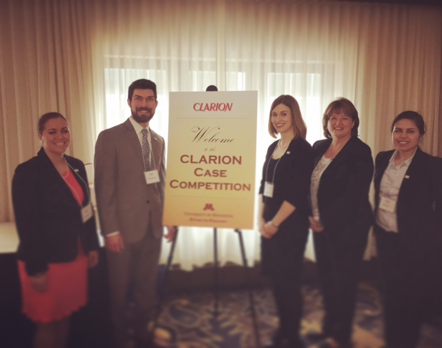 Students and faculty advisors are pictured next to the Clarion welcome sign prior to the competition.